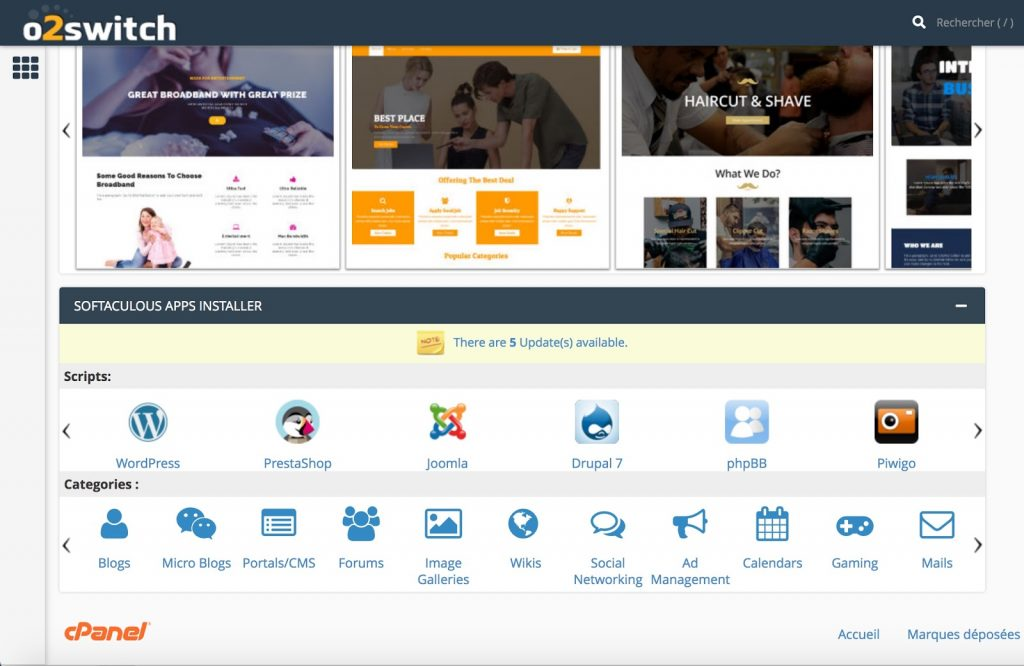 interface cPanel o2switch